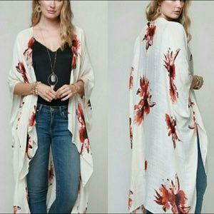 Off-White Floral Print Kimono - One Size Fits Most